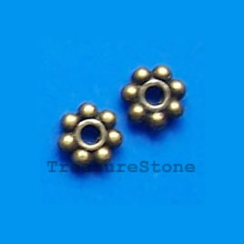 Bead, antiqued brass finished daisy, 5mm. Pkg of 30.