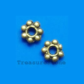 Bead, antiqued brass finished daisy, 6mm. Pkg of 30.