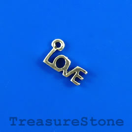 "Charm, silver-finished, 5x12mm ""LOVE"". Pkg of 15."