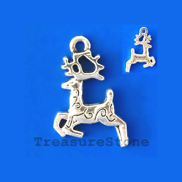 Charm/pendant, silver-plated, 12x15mm reindeer. Pkg of 15.