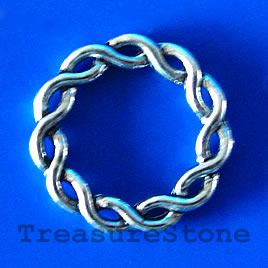 Bead, antiqued silver-finished, 21mm. Pkg of 10.