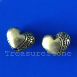 Bead, antiqued brass finished heart, 10x7mm. Pkg of 12.