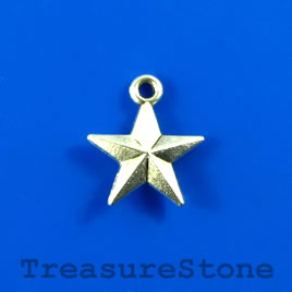 Charm/pendant, silver-plated, 14mm star. Pkg of 12.