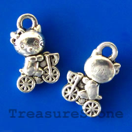 Charm, silver-finished, 7x10mm cat. Pkg of 20.