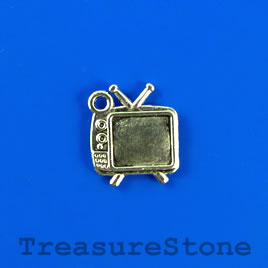 Charm/pendant, silver-plated, 13x16mm television. Pkg of 11.