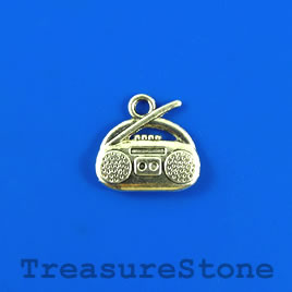 Charm/pendant, silver-plated, 14x15mm stereo. Pkg of 8.