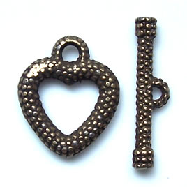 Clasp, toggle, antiqued brass-finished,18x26mm heart. Pkg of 5.