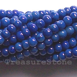 Bead, coral (dyed), blue, 3mm round, B grade. 16-inch strand.