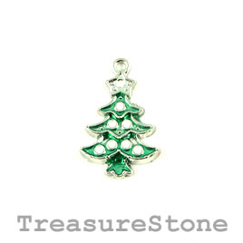 Charm/Pendant, silver-plated, 15x21mm christmas tree. Pkg of 2.
