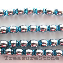 Bead, glass, blue and silver, 6x8mm oval. 11-inch strand.