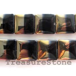 Bead, glass, black and gold, 20mm flat square. 14pcs