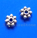 Bead, antiqued silver-finished, 4mm beaded rondelle. Pkg of 30.