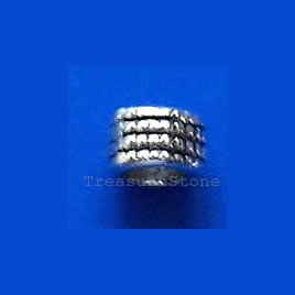 Bead, antiqued silver-finished, 4mm tube. Pkg of 25.