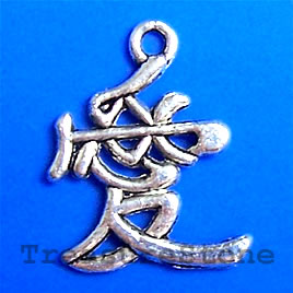 "Pendant/charm, 20x18mm chinese ""LOVE"". Pkg of 8."