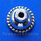 Bead cap, antiqued silver-finished 10mm. Pkg of 20