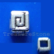 Bead, antiqued silver-finished, 4mm cube. Pkg of 25.