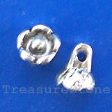 Pendant/charm, silver-finished, 7x8mm flower. Pkg of 20.