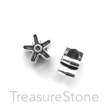 Bead, silver-colored, 12mm flower, large hole, 4mm. Pkg of 10.