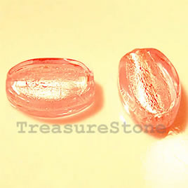 Bead, lampworked glass, pink, 12x18x7mm flat oval. Pkg of 6.