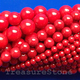 Bead, coral (dyed), red, 8mm round, A grade. 16-inch strand.
