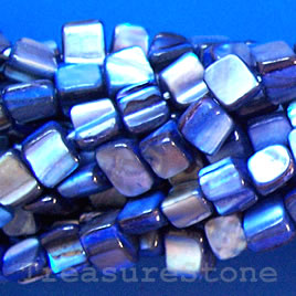 Bead, shell, blue chip (dyed). Sold per 15.5-inch strand.