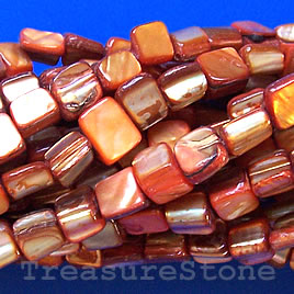 Bead, shell, orange chip (dyed). Sold per 15.5-inch strand.