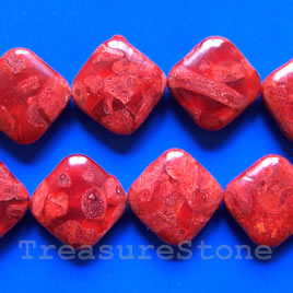 Bead, sponge coral (dyed), red, 26x8mm flat diamond. 16-inch.