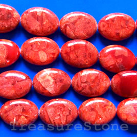 Bead, sponge coral (dyed), red, 16x23mm flat oval. 16-inch.