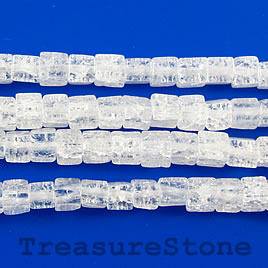 Bead, synthetic ice flake quartz, 4mm cube.15.5-inch