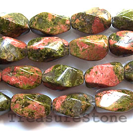 Bead, unakite, 8x15mm twist. 16-inch strand.